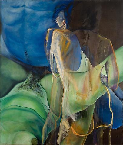"Joan Semmel Overlays Series ""Twins"" (1972/1992) Oil on canvas: 68h x 58w in (172.72h x 147.32w cm)"