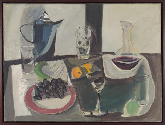 Untitled (Still Life with Blue Pitcher and Grapes) (1946) Oil on canvas 24h x 32w in (61h x 81.3w cm)