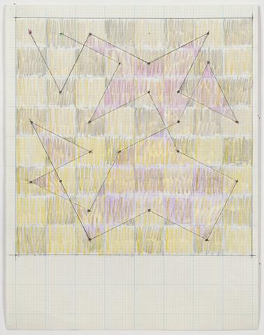 "Study for ""Knight Series"" (c. 1975) Graphite and colored pencil on graph paper 11h x 8.5w in (27.9h x 21.6w cm)"