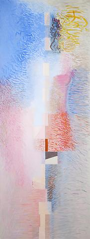 Jeremy Gilbert-Rolfe, The Sun Comes Out  (2011); Oil on linen; 66.5h x 25w x 1.5d in  (168.91h x 63.5w x 3.81d cm)