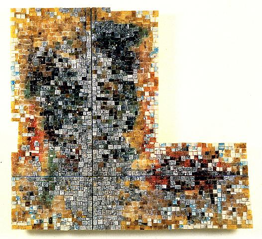 Ella III: For Ella Fitzgerald (1997) Acrylic and glass on wood panel 38.5h x 35.75w in (97.79h x 90.81w cm)