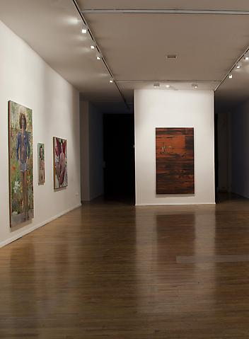 Jack Whitten; Sorcerer's Apprentice (facing wall) The Comfort of Strangers (2010) Installation view; MoMA PS1