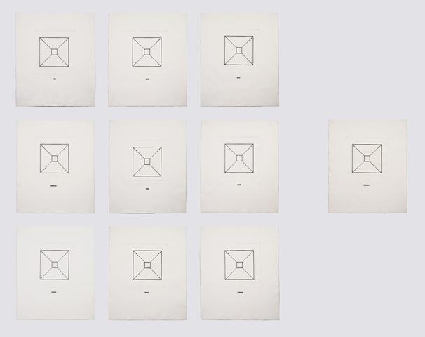 Luis Camnitzer, Envelope (1967) Etching on paper in 10 parts 16.14h x 13.58w in (41h x 34.5w cm)
