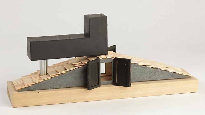 Tomb for Neema (2011) Wood, foam core, balsa wood, plastic, paint 6.5h x 15w x 5d in (16.5h x 38.1w x 12.7d cm)