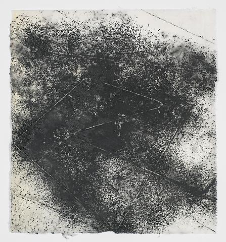 Jack Whitten, Target (In & Out) #10 (2011) Magnetite and acrylic on rice paper 7.75h x 8.5w in (19.68h x 21.59w cm)