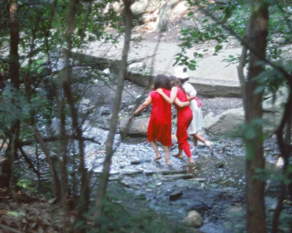 Rivers, First Draft: The Woman in Red, the Teenager in Magenta, and the Little Girl in Pink Sash wade the stream (1982/2015) Digital C-print from Kodachrome 35mm slides in 48 parts, 16h x 20w in (40.6h x 50.8w cm) Edition of 8 with 2 AP