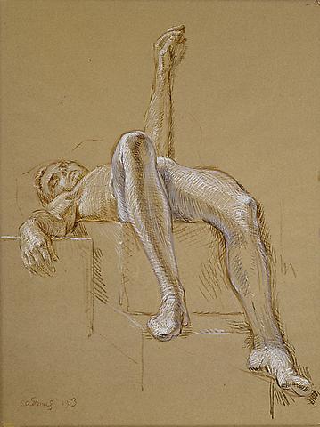 Paul Cadmus, Portrait of Ralph McWilliams (1953) Tempera on paper 24.5h x 18.25w in (62.23h x 46.36w cm)