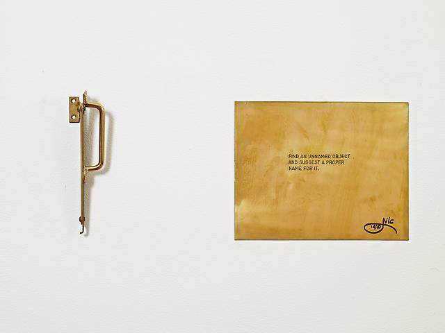 "Find an unnamed object and suggest a proper name for it. From the series ""The Assignment Books"" (2011) Brass plaque with mixed media"