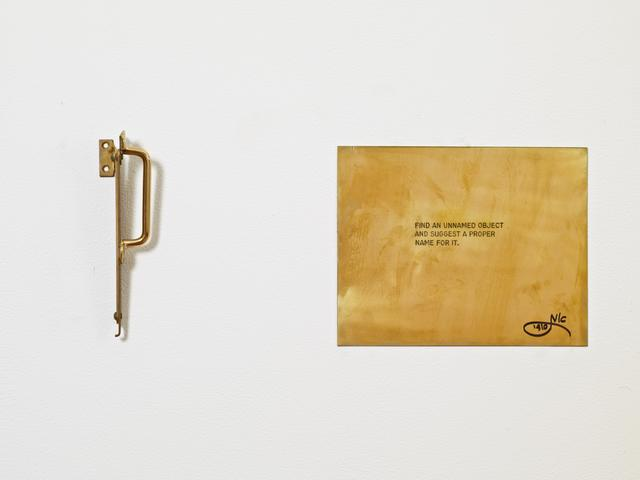 """Find an unnamed object and suggest a proper name for it. From the series """"The Assignment Books"""" (2011) Brass plaque with mixed media, dimensions variable"""