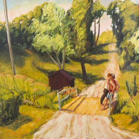 Maroon Shed (1991) Oil On Canvas 60h x 60w in (152.4h x 152.4w cm)