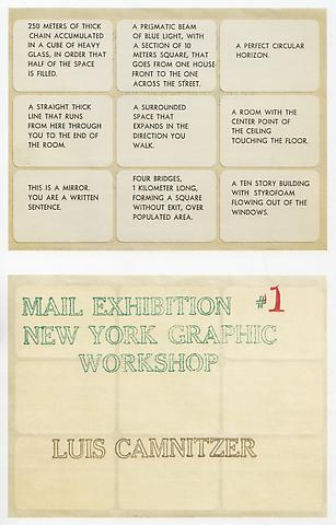Sentences, Adhesive Labels for #1 Mail Exhibition of New York Graphic Workshop (1966-1967) Offset 4.25h x 5.59w in (10.8h x 14.2w cm)