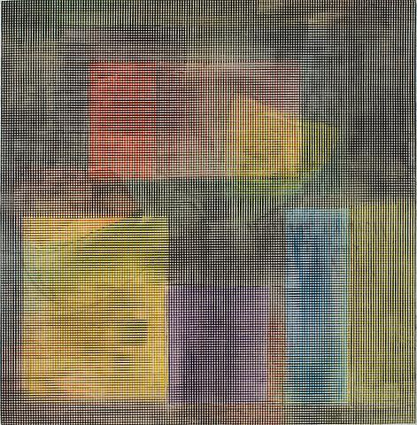 Holding Pattern (1979) Acrylic on canvas 42h x 42w in (106.68h x 106.68w cm)