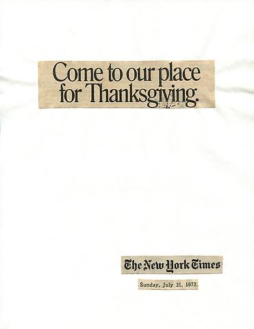 Cutting Out the New York Times, Come to Our Place for Thanksgiving (1977) Part 1 of 9, Toner ink on adhesive label paper 28h x 180w in (71.12h x 457.2w cm)