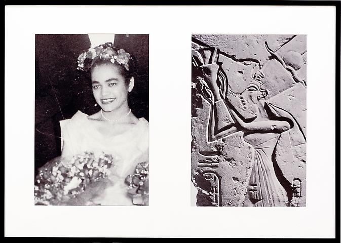 Miscegenated Family Album (Ceremonial Occasions I), L: Devonia as Matron of Honor; R: Nefertiti performing a lustration, (1980/1994) Cibachrome prints; Edition of 8 with 1 AP 26h x 37w in (66.04h x 93.98w cm)