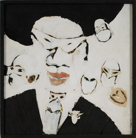 The Blacks (1964) Acrylic collage on masonite 32h x 31.6w in (81.3h x 80.3w cm)