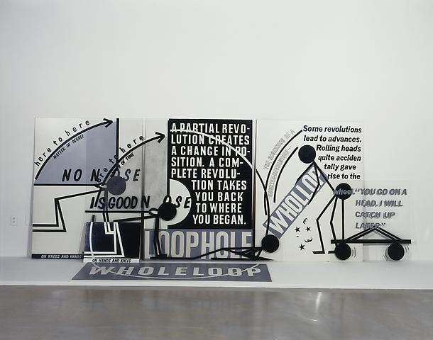 No Noose Is Good Noose (1983) Paint on Plexiglas and masonite   62h x 168w x 26d in (157.48h x 426.72w x 66.04d cm)