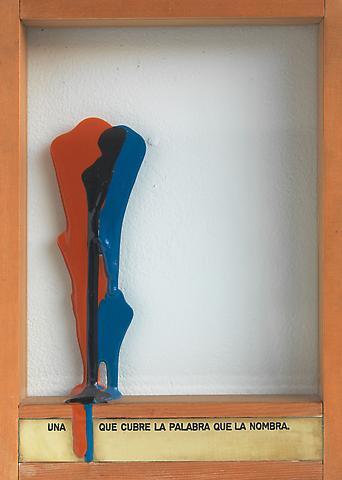 Una que Cubre la Palabra que la Nombra (1973-1976) Engraved brass plaque, epoxy, glass, and wood 13.5h x 9.88w x 2d in (34.29h x 25.1w x 5.08d cm)
