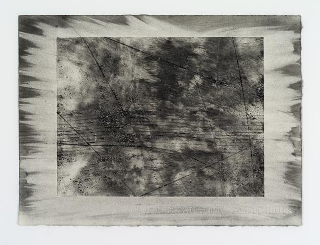 Organic Series XII (1974) Xerox toner on paper 11.25h x 15w in (28.6h x 38.1w cm)