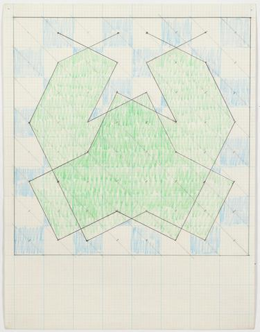 "Study for ""Knight Series"" (1975) Graphite and colored pencil on graph paper 11h x 8.5w in (27.9h x 21.6w cm)"