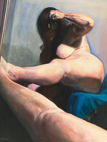Tilted Mirror (2002) Oil on canvas 50h x 38w in (127h x 96.52w cm)