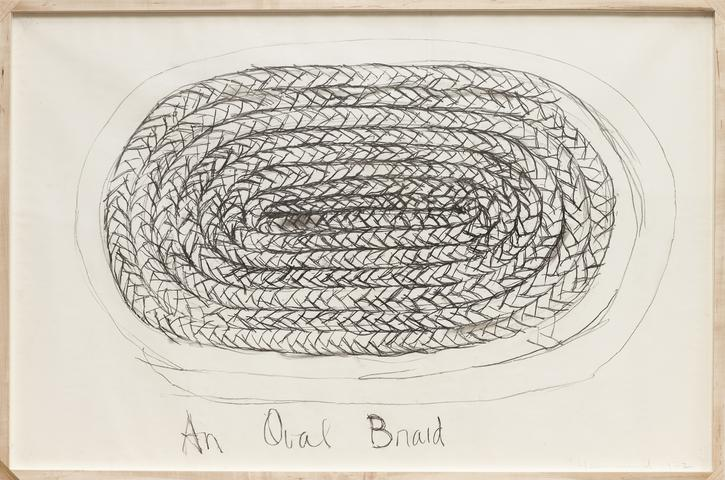 An Oval Braid (1972) Charcoal on paper 25h x 38w in (63.5h x 96.5w cm)