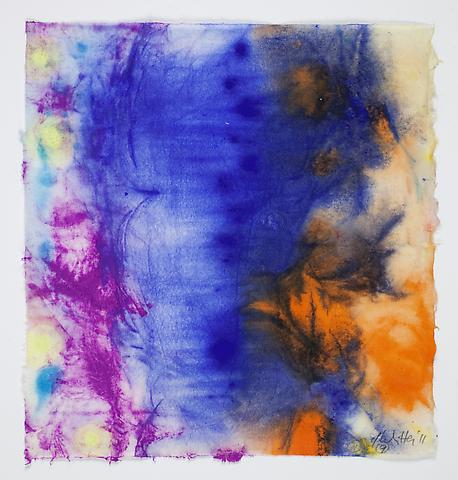 Saturation #9 (2011) Acrylic and dry pigment on rice paper 8.5h x 7.75w in (21.59h x 19.68w cm)