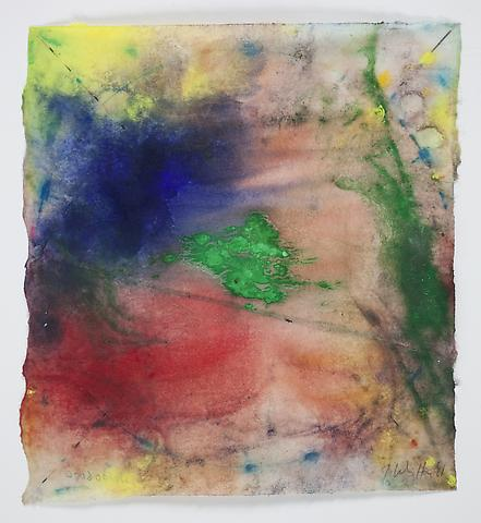 Saturation #8 (2011) Acrylic and dry pigment on rice paper 8.5h x 7.75w in (21.59h x 19.68w cm)