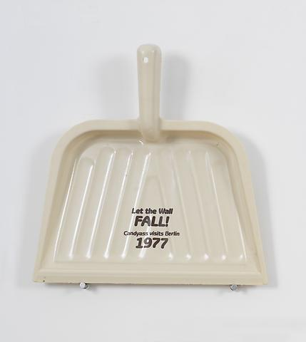 Let the Wall Fall  (1993) Printing on plastic dustpan 10.75h x 10.38w x 2.25d in (27.31h x 26.37w x 5.72d cm)