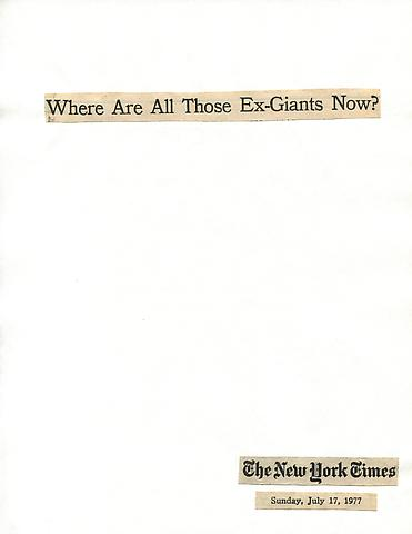 Cutting Out The New York Times, Where are All Those Ex-Giants Now? (1977) Part 1 of 7, Toner ink on adhesive paper 11.02h x 7.87w in (27.99h x 19.99w cm)