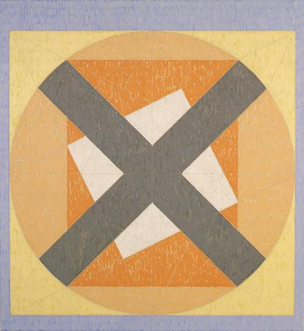 X on Circle in the Square (Q4-81 #2) (1981) Acrylic on canvas 49h x 45w in (124.5h x 114.3w cm)