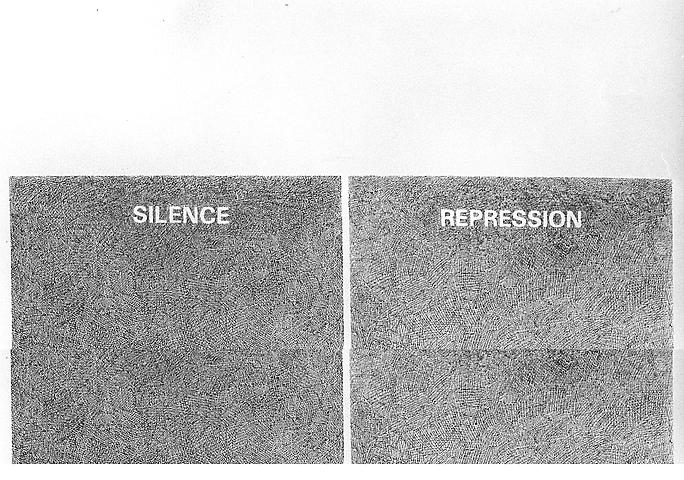 Silence/Repression (1976) Ink on paper 21.7h x 27.6w in (55.12h x 70.1w cm)