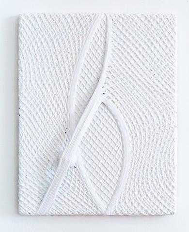 Alexandre da Cunha, <i>Net I</i> (2014) Vest, golf ball and acrylic on canvas 18h x 14w x 3d in (45.7h x 35.6w x 7.6d cm)