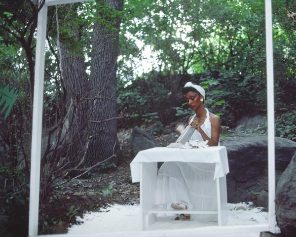 Rivers, First Draft: The Woman in White continues grating coconut (1982/2015) Digital C-print from Kodachrome 35mm slides in 48 parts, 16h x 20w in (40.6h x 50.8w cm) Edition of 8 with 2 AP