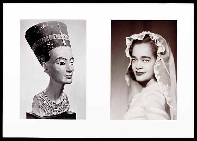 Miscegenated Family Album (Sisters I), L: Nefernefruaten Nefertiti; R: Devonia Evangeline O'Grady  (1980/1994) Cibachrome prints; Edition of 8 with 1 AP 26h x 37w in (66.04h x 93.98w cm)