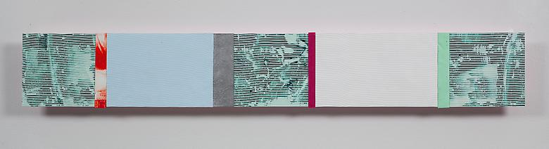 Ribbons of Honor #9  (2009) Acrylic collage on panel  5.75h x 39w in (14.61h x 99.06w cm)