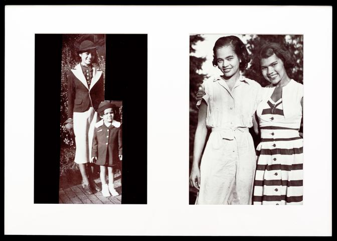 Miscegenated Family Album (Hero Worship), L: Devonia, age 14; and Lorraine, age 3; R: Devonia, age 24; and Lorraine, age 13 (1980/1994) Cibachrome prints, 26h x 37w in (66h x 94w cm) Edition of 8 with 1 AP