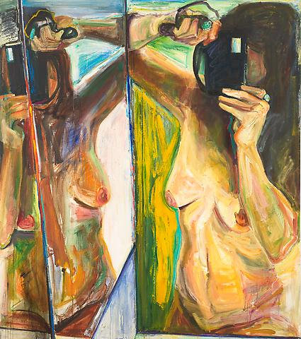Double Take (1991) Oil on canvas 68h x 60w in (172.72h x 152.4w cm)