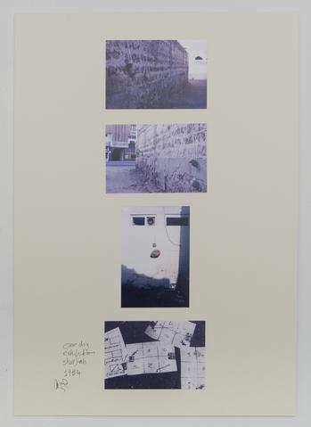 Hassan Sharif, <i>One Day Exhibition-Sharjah</i>, 1984, photographs on cardboard 23.43h x 16.54w in (59.5h x 42w cm)