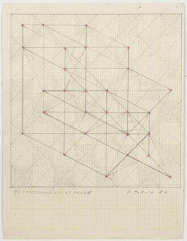 27 Continuous Knight Moves (PT 74 #4) (1974) Graphite, colored pencil and ink on graph paper 11h x 8.5w in (27.9h x 21.6w cm)