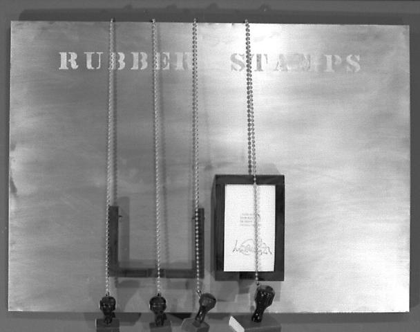 Rubber Stamps (1967) Ink pad, and paper pad mounted on aluminum on wood 19h x 24w x 3.5d in (48.26h x 60.96w x 8.89d cm)