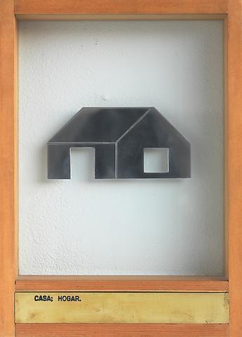 Casa; Hogar (1973-1976) Aluminum, engraved brass plaque, glass, wood 13.5h x 9.88w x 2d in (34.29h x 25.1w x 5.08d cm)