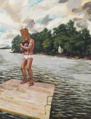 Raft (1991) Oil On Canvas 40h x 30.25w in (101.6h x 76.8w cm)