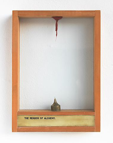 Luis Camnitzer The Reason of Alchemy (1973-1976); Mixed media 13.5h x 9.88w x 2d in (34.29h x 25.1w x 5.08d cm)