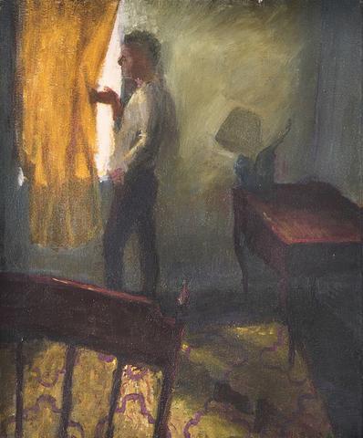 Falling Lamp (1987) Oil On Canvas 19.25h x 15.63w in (48.9h x 39.7w cm)