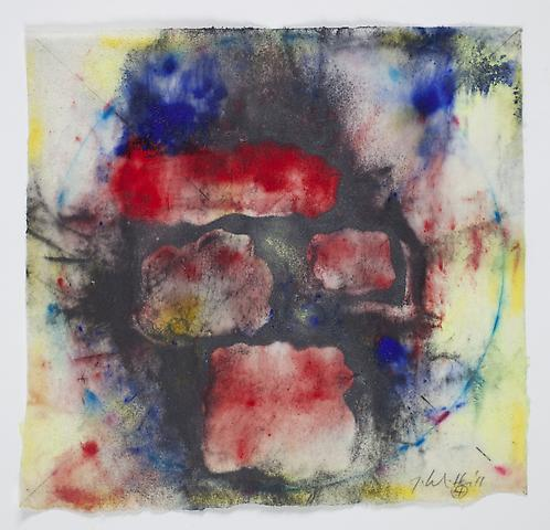 Saturation #4 (2011) Acrylic, graphite, dry pigment on rice paper 8.5h x 7.75w in (21.59h x 19.68w cm)