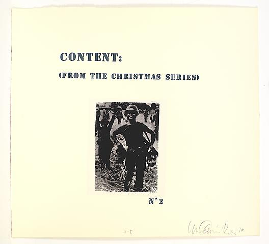 Content (from the Christmas Series) (1971) Silkscreen on paper in 8 parts; 25.25h x 27.75w in (64.14h x 70.49w cm) Edition of 5 with 1 AP