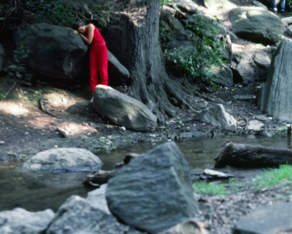 Rivers, First Draft: The Teenager in Magenta stands depressed on the bank of the stream (1982/2015) Digital C-print from Kodachrome 35mm slides in 48 parts, 16h x 20w in (40.6h x 50.8w cm) Edition of 8 with 2 AP