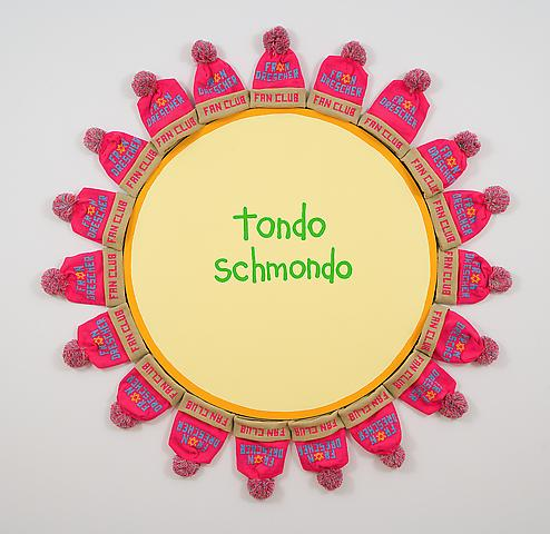 Tondo Schmondo (2007) Latex enamel on wood, Hats 70h x 70w in (177.8h x 177.8w cm)