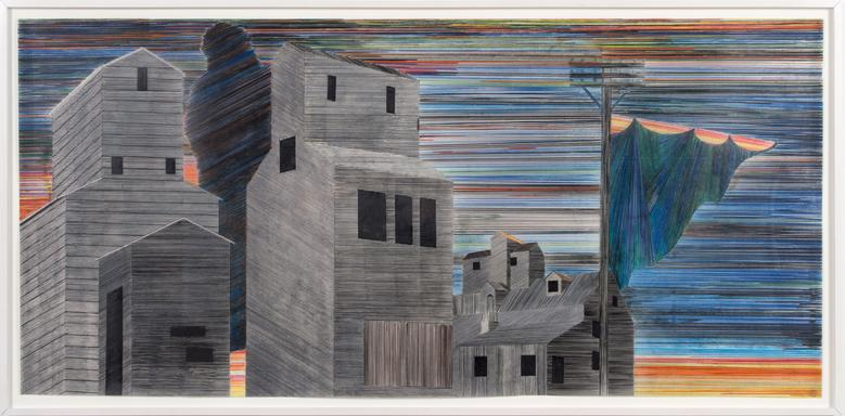 Siah Armajani, Sunset at Hiawatha Avenue (2004) Colored pencil on mylar 33.7h x 72w in (85.6h x 182.9w cm)