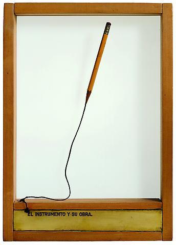 El Instrumento y Su Obra (1976) Pencil, rope, engraved brass plaque, glass, and wood 13.82h x 9.8w x 1.97d in (35.1h x 24.89w x 5d cm)